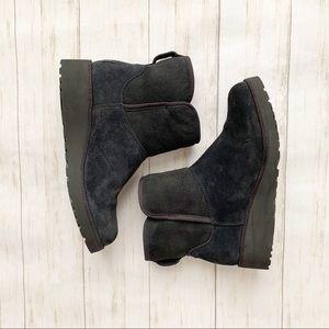 Ugg Kristin Black Suede Sheepskin Wedge Ankle Boot